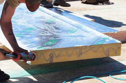 Apply Continuous Bead of Adhesive to Seal Roof Panel Joints