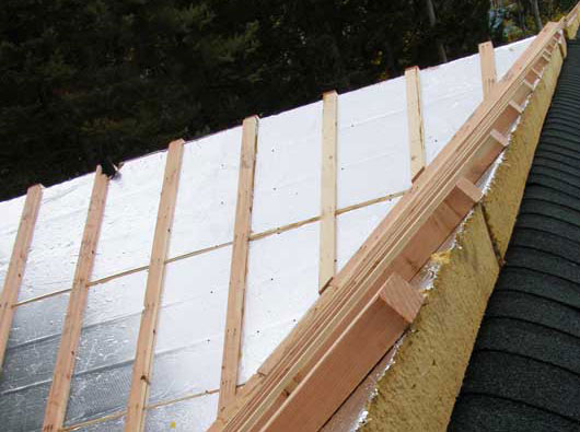 Cold Roof - Furring Strips Added To Allow Ventilation & Circulation Between The Panels and The Sheathing